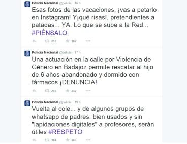 Captura Twitter de la policía nacional española a 7 de abril del 2015. Con más de millón y medio de seguidores, su